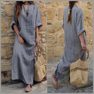 Rustic Stone Striped Linen Pocket Maxi Dress